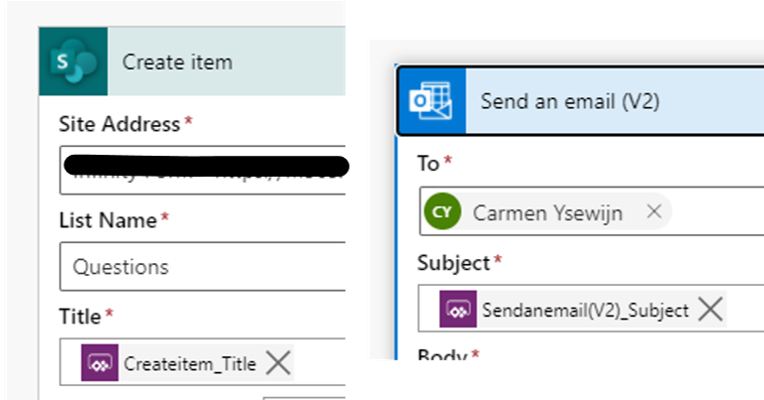 Create item  Site Address •  List Name •  Questions  Createitem_TitIe X  Send an email (V2)  To •  O  Carmen Ysewijn X  Subject •
