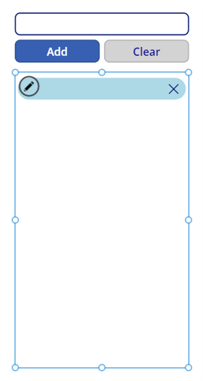 Screenshot of the organized controls in the canvas app